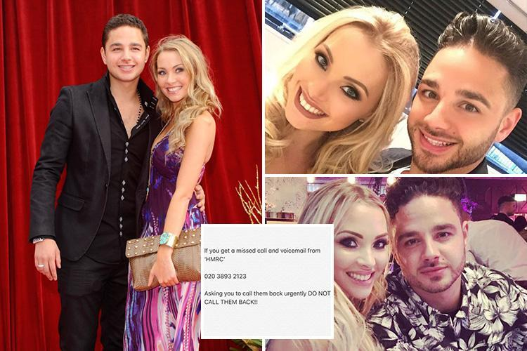 Pregnant wife of ex Emmerdale star Adam Thomas reveals HMRC tax scam conman claimed she'd be JAILED for five years unless she gave him her bank details