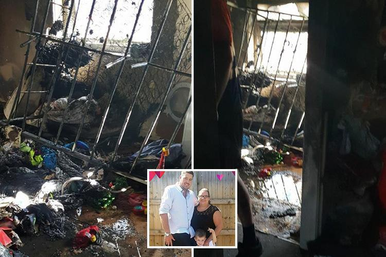 Devastated family lose all their possessions after phone charger causes fire that destroyed their home when they popped out for 10 minutes