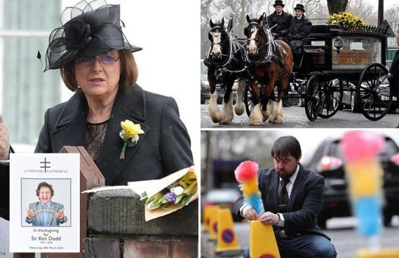 Ken Dodd's wife joins stars including Claire Sweeney and Ricky Tomlinson to bid final farewell to comedian