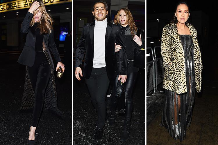 Abbey Clancy, Kem Cetinay and Myleene Klass look all partied out as they leave Global Awards