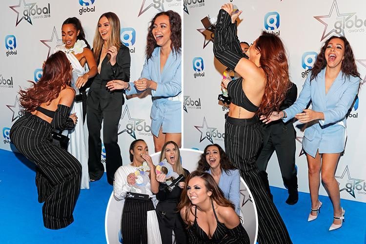 Jesy Nelson twerks on the red carpet as Little Mix celebrate their Global Awards win