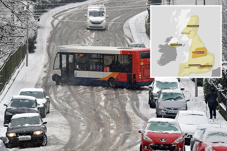 Met Office warns 'RISK TO LIFE' and issues amber snow alert for London and north of England as 20cm and BLIZZARDS forecast