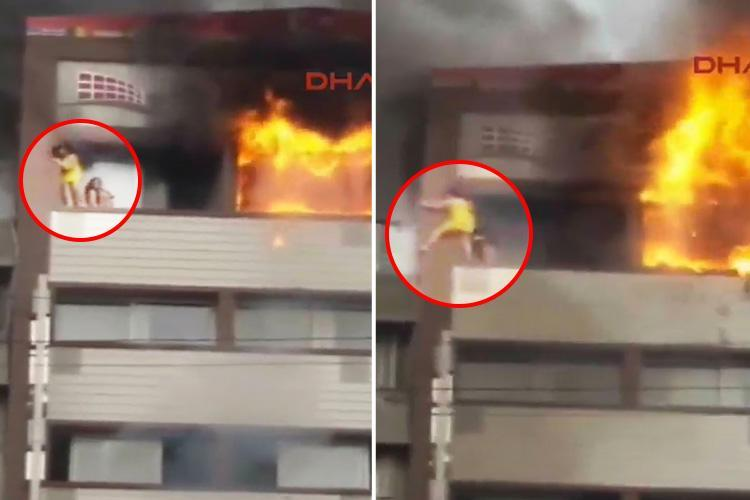 Horrifying moment woman falls from Turkey hotel balcony as she desperately tries to escape sixth-floor fire
