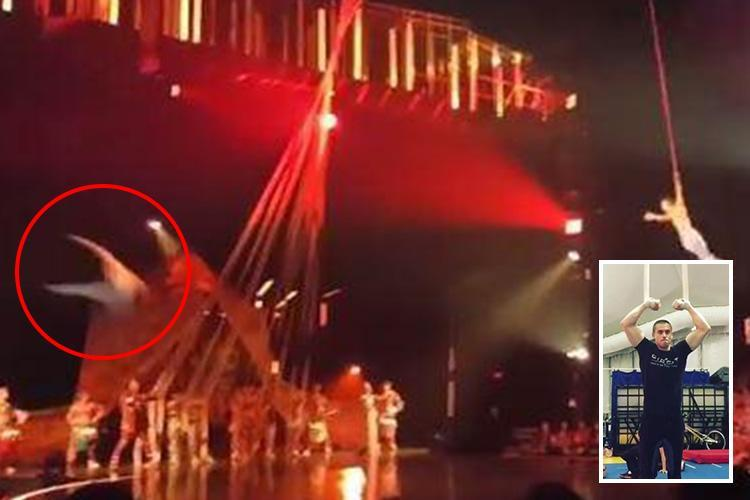 Horrifying moment Cirque du Soleil star falls to his death in front of shocked crowd while performing new routine