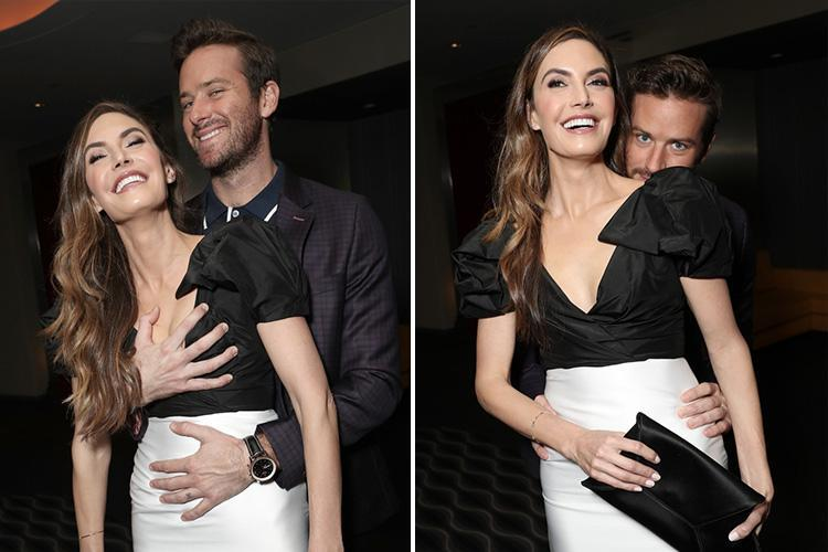 Armie Hammer grabs wife Elizabeth Chambers' boobs on the red carpet for Final Portrait premiere