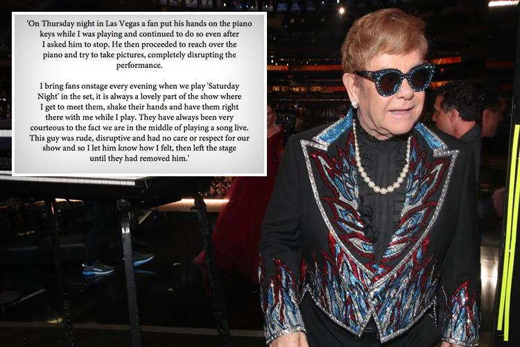 Sir Elton John slams 'rude and disruptive' fan who interrupted his Las Vegas performance by touching his piano