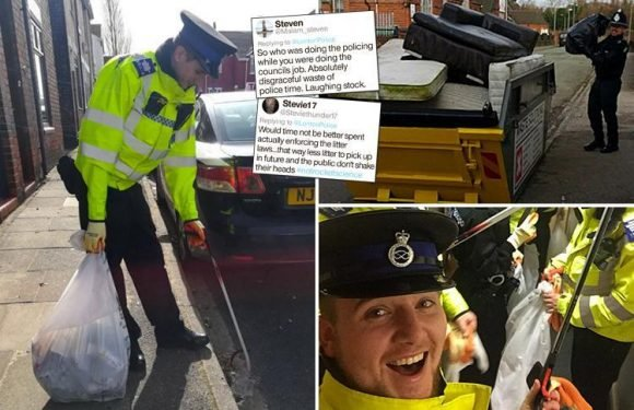 Cops blasted for picking up litter from streets instead of tackling crime