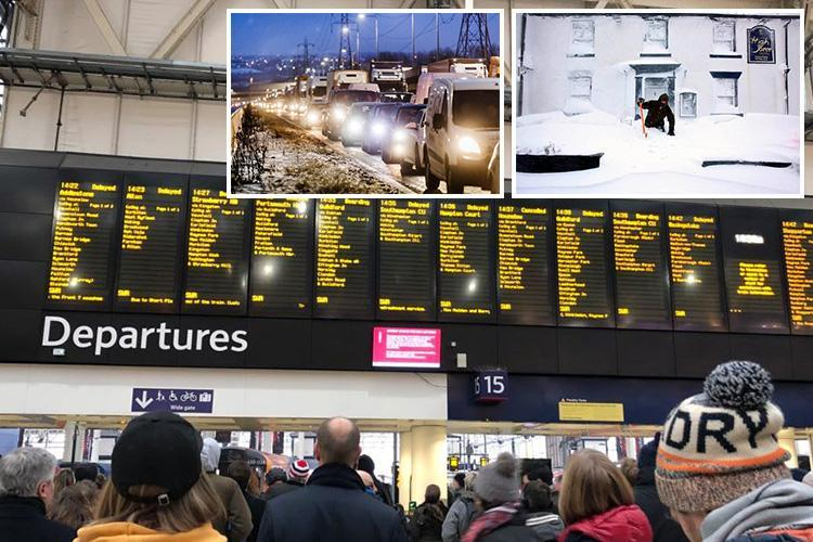 Rail firms warns commuters 'get home NOW' as Waterloo starts closing at 6pm while motorists face a second night stranded in their cars