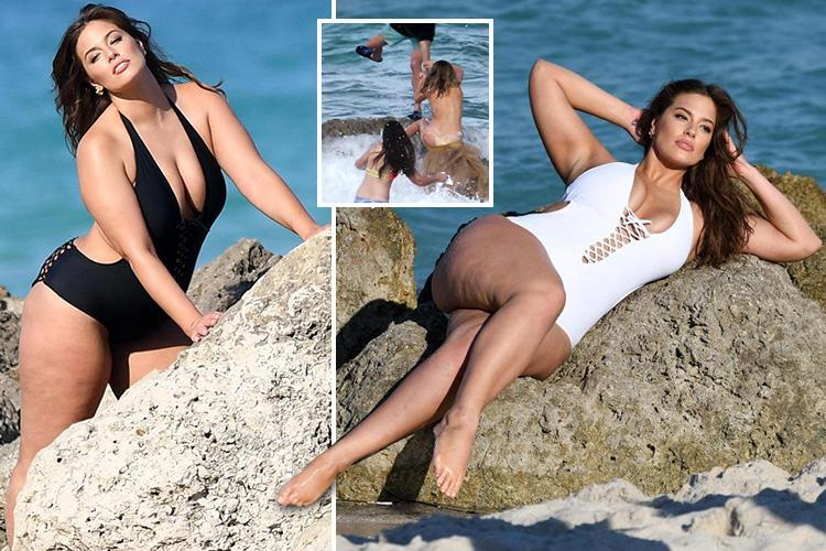 Ashley Graham does a Kate Upton as she poses on a rock in sexy swimwear – but manages not to fall off