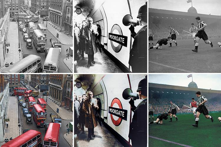 London's history brought to life as incredible black and white snaps given a full-colour makeover