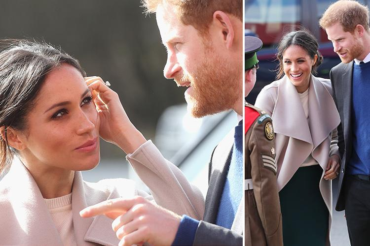 Meghan Markle makes fashion tribute to her Northern Irish hosts by wearing stylish green skirt on surprise visit with Harry