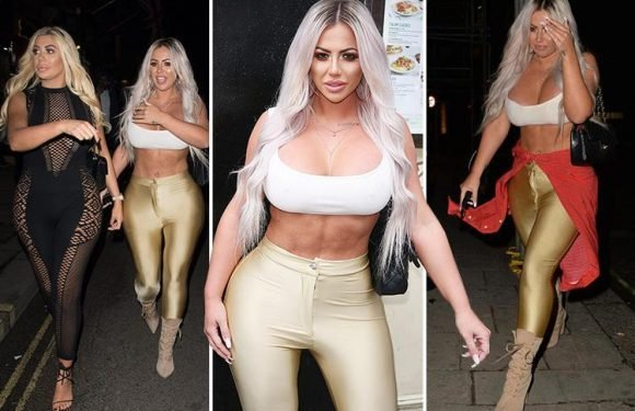 Busty Holly Hagan flashes her cleavage in a plunging crop top on a night out with Geordie Shore mate Chloe Ferry