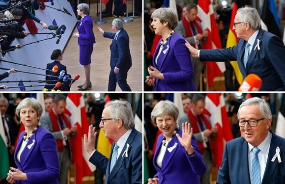 Jean-Claude Juncker interrupts Theresa May during TV interview as she arrives in Brussels to rally EU leaders over Russia and Brexit