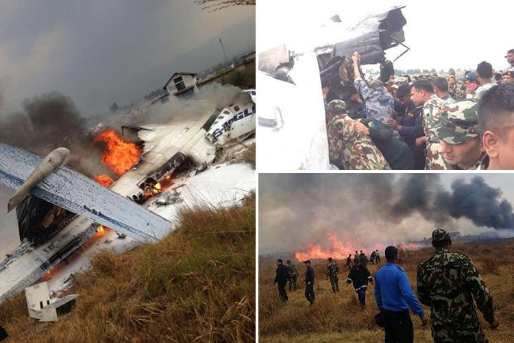 Kathmandu airport plane crash 'kills at least 50' after jet shoots off runway in Nepal and bursts into flames