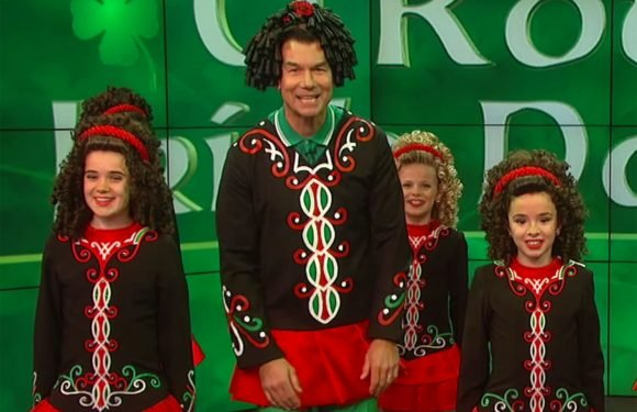Jerry O'Connell performs with young Irish dancers