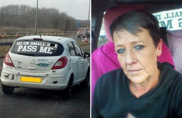 Driver's fury after cop demands she removes cheeky car message 'go on small d**k'