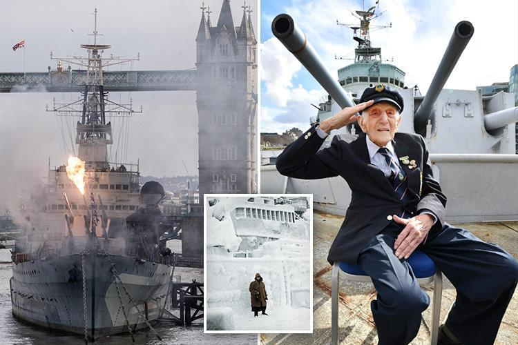 HMS Belfast's oldest surviving veteran, 104, tells of 'scary' moment he was saved from Arctic Sea as his hand froze onto gun as WW2 Royal Navy warship celebrates 80th anniversary
