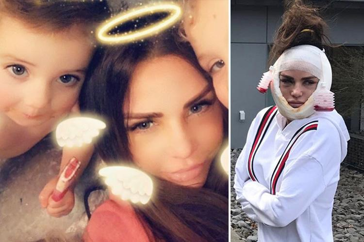 Katie Price reveals her new face for the first time after having operation to fix botched surgery