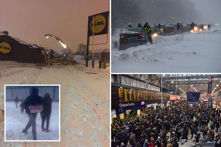 Looters raid storm-damaged Lidl store before thugs 'rip off roof with a digger' as snow and ice spark chaos