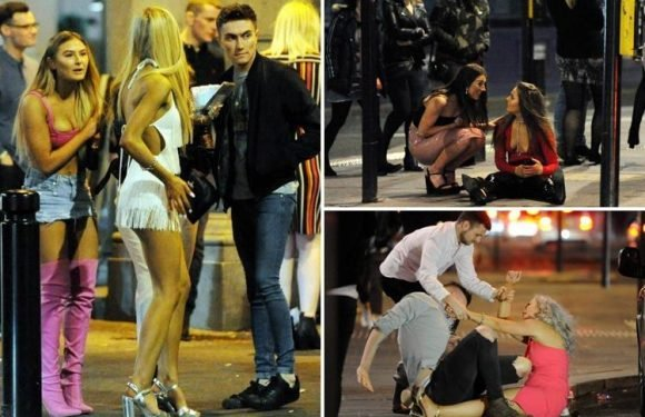 Boozed up revellers collapse in the street as hundreds hit Newcastle and Birmingham for Good Friday