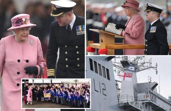 Queen welcomed by flag-waving children as she arrives to decommission Britain's biggest warship before it is sold off to Brazil for £84m