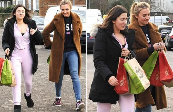 EastEnders stars Jasmine Armfield and Tilly Keeper return to the set with five bags of Nandos after a break from filming