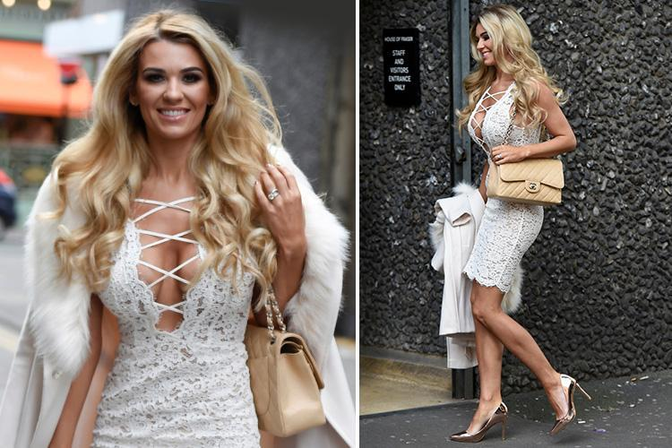 Christine McGuinness looks incredible in cleavage-baring lace dress as she films Real Housewives of Cheshire after reconciling with Paddy