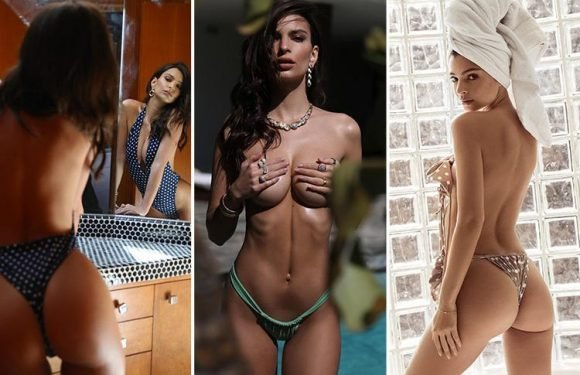 Emily Ratajkowski poses topless and bares her bum as she's joined by husband Sebastian Bear-McClard for sexy photoshoot