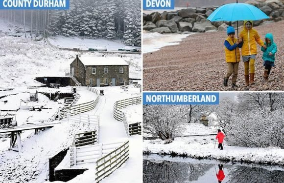 Snow blankets the north while south is lashed by rain as Easter weekend gets off to damp start