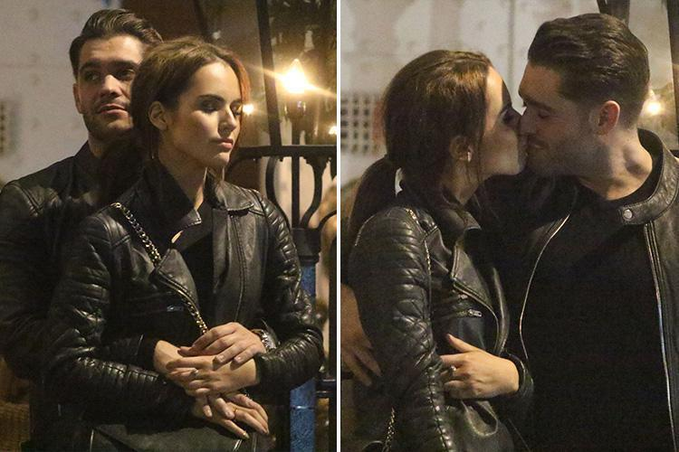 Jonny Mitchell and Danielle Zarb-Cousin look loved up as they kiss and cuddle after dinner in London