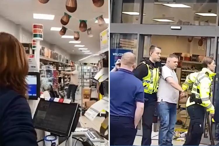Bizarre moment Tesco shopper smashes up bottles in the middle of booze aisle