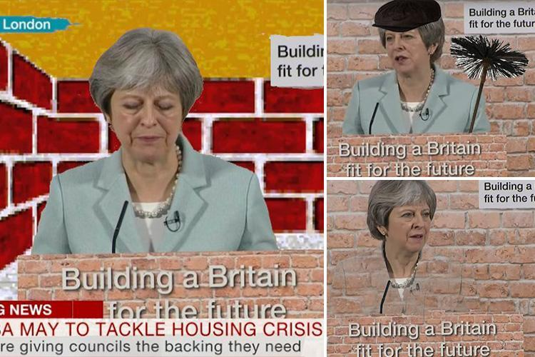 Theresa May mocked on social media for delivering her speech looking like she was 'stuck in a chimney' with fake brick backdrop