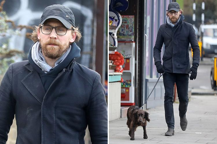 Tom Hiddleston looks unrecognisable with full beard and long hair as he takes his dog for a walk