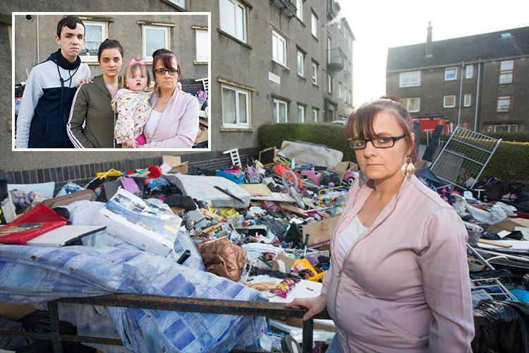 Family arrives home to find landlord hurled all their possessions out of 30ft window including kids' toys and 'memory box' tribute to dead baby daughter