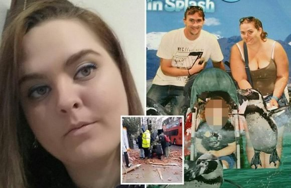 Mum, 29, fighting for life after being hit by falling bricks on school run had just got engaged