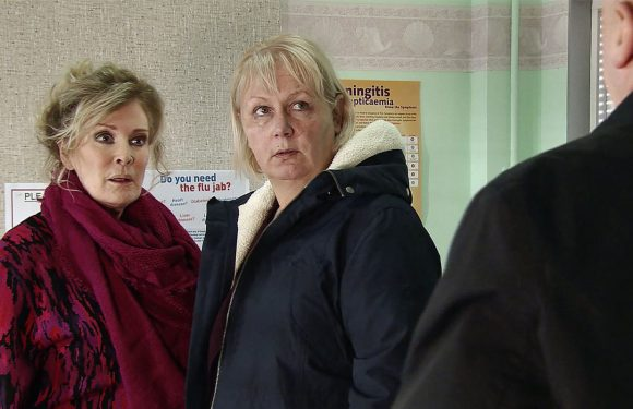 Coronation Street's Eileen Grimshaw is arrested as the police link her to Phelan's murders