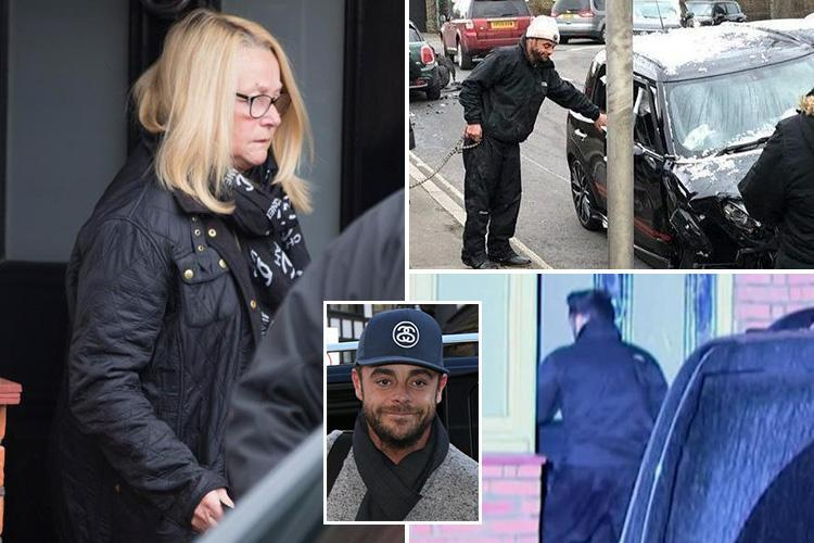 Ant McPartlin's mum pictured leaving TV star's house after 'crisis talks' over 'drink-drive crash'