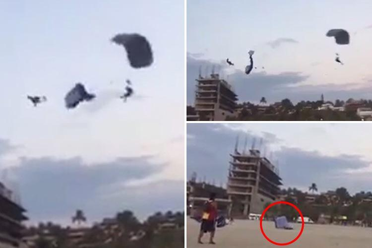Horror moment female parachutist falls 50ft to her death after mid-air collision in Mexico
