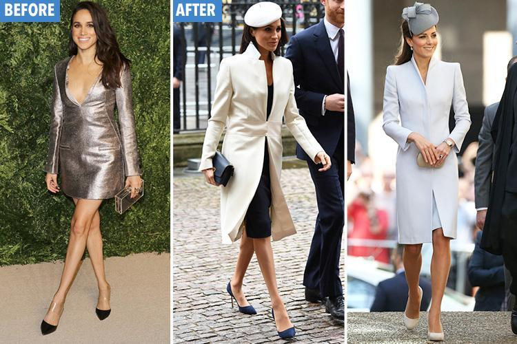 She's been Middleton'd! How Meghan Markle went from California girl to copy Kate (down to THOSE flesh-coloured tights)