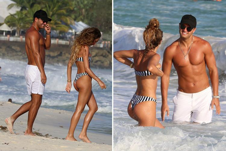 Megan McKenna and Mike Thalassitis show off their incredible bodies and glowing golden tans as they hit the beach in Barbados