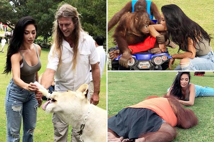 Nicole Scherzinger bottle feeds a chained lion and plays with orangutans dressed in clothes as she visits a zoo in Dubai