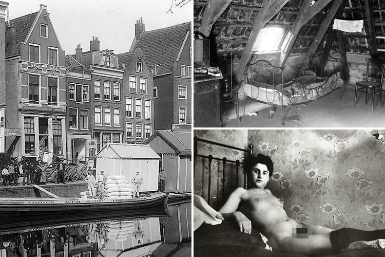 Incredible historic pics of Amsterdam's Red Light district show prostitutes and pimps waiting for customers on sidewalks