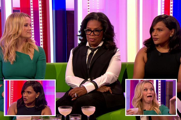Mindy Kaling says Oprah Winfrey was 'tricked' into revealing her pregnancy as they down cocktails with Reese Witherspoon on The One Show