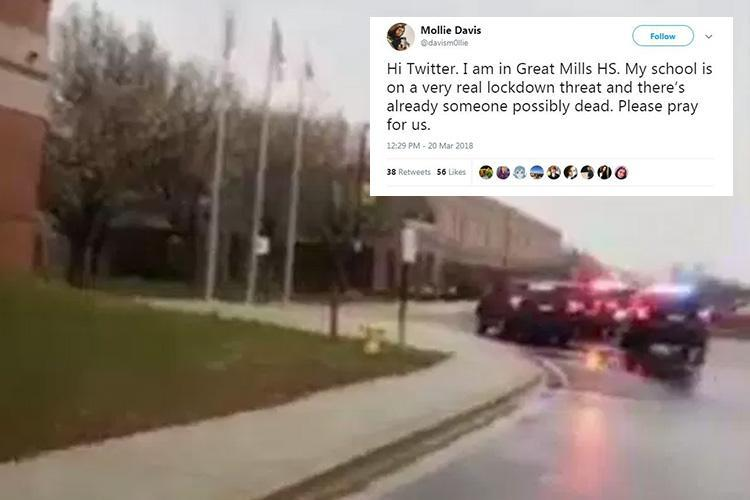 Maryland school shooting leaves two students fighting for life after teen gunman opens fire before being taken down by hero cop
