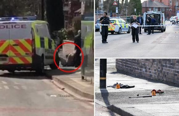 Dramatic moment cops take down sword-wielding man in Manchester 'after he slashed two policemen' leaving one seriously injured