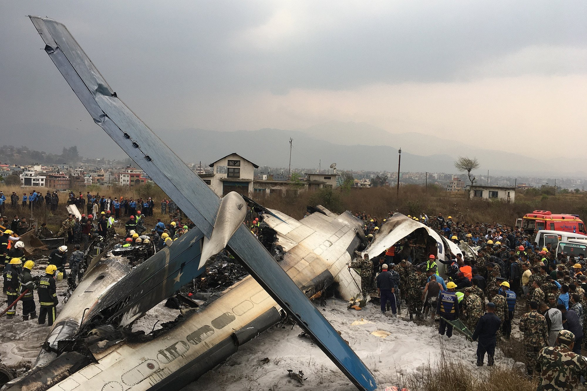 Commercial plane crashes, bursts into flames at Nepal airport