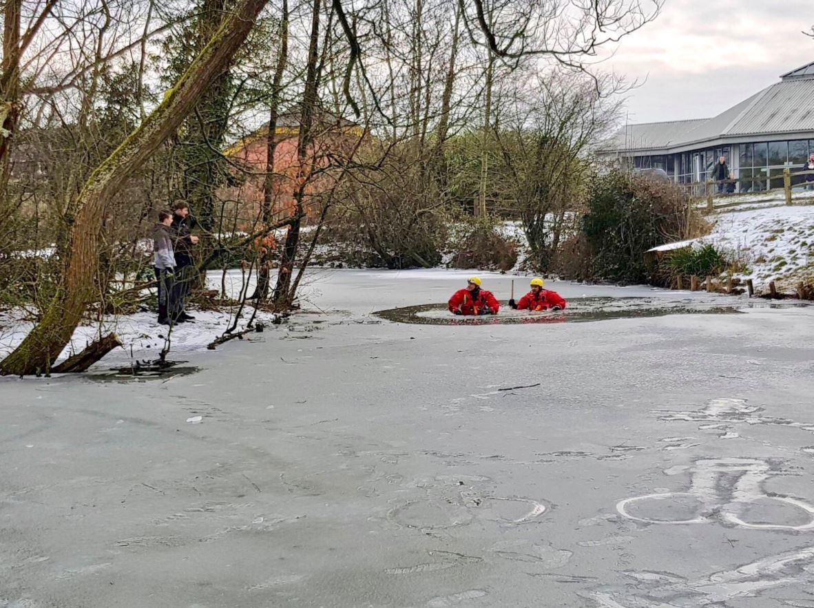 Firefighters wade through chest-deep icy water as Storm Emma rages after morons get stuck on frozen duck pond and have to be rescued