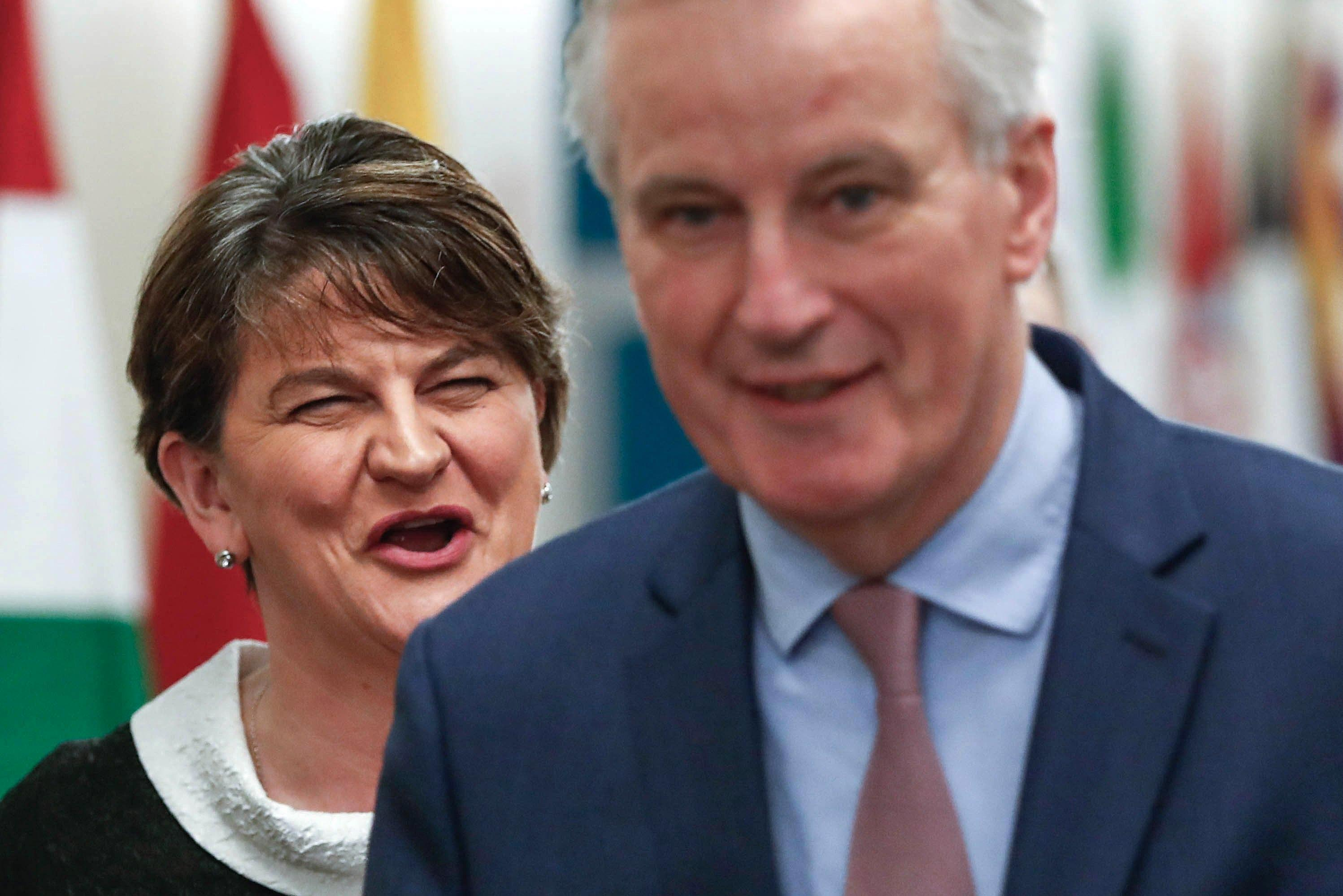 Arlene Foster accuses EU of being unfaithful' by editing key Northern Ireland text from Brexit plans and blasts Michel Barnier for trying to break up the UK