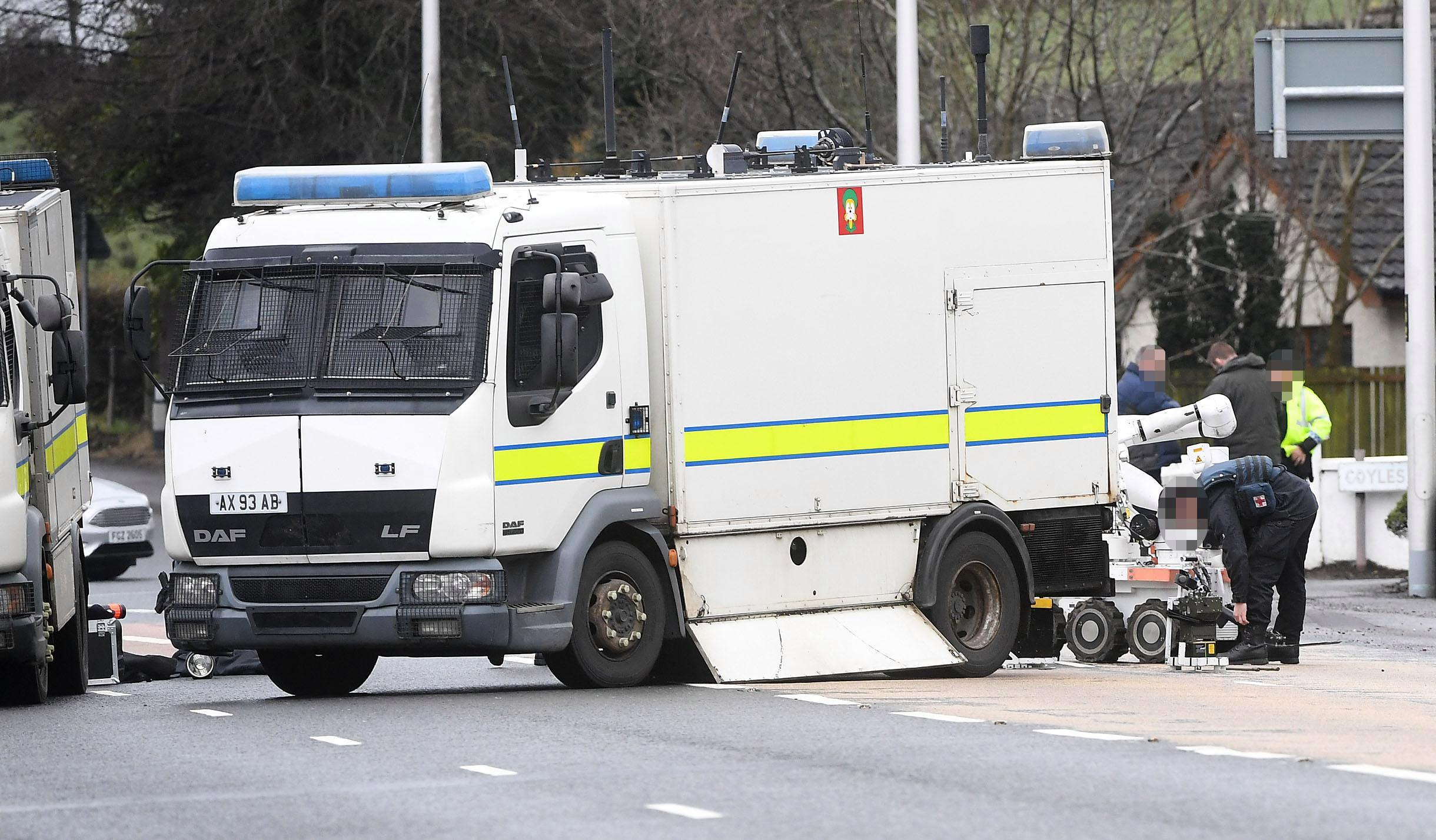 Police car 'explodes' sparking fears of 'booby trap bomb' in Northern Ireland
