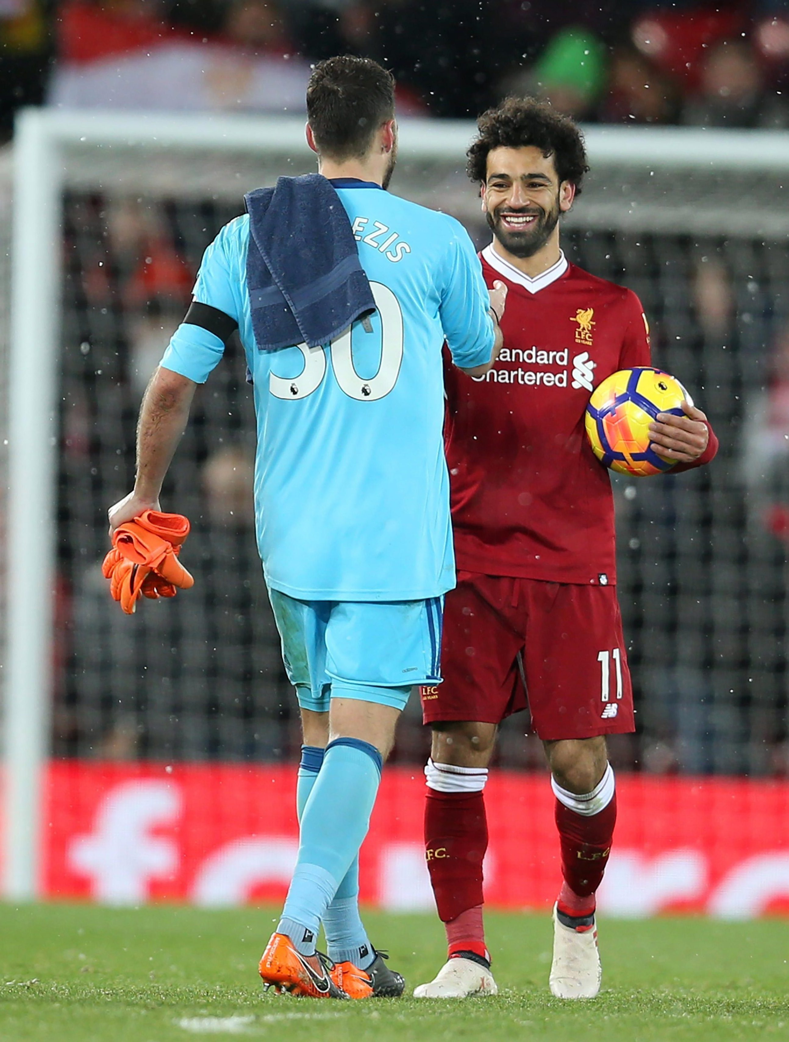 Mo Salah apologies to Orestis Karnezis after scoring four as Liverpool smashed Watford